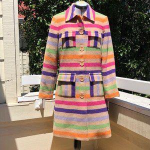 Trina Turk Tan Multi Striped Wool Blend Coat
